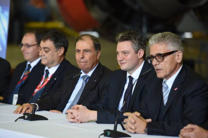 Minister Konrad Mizzi (second from right) said Air Malta would increase 1,400 flights next year