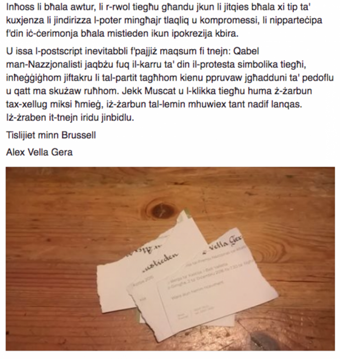 Alex Vella Gera posted a picture of the torn invite on Facebook together with a note on why he is not attending