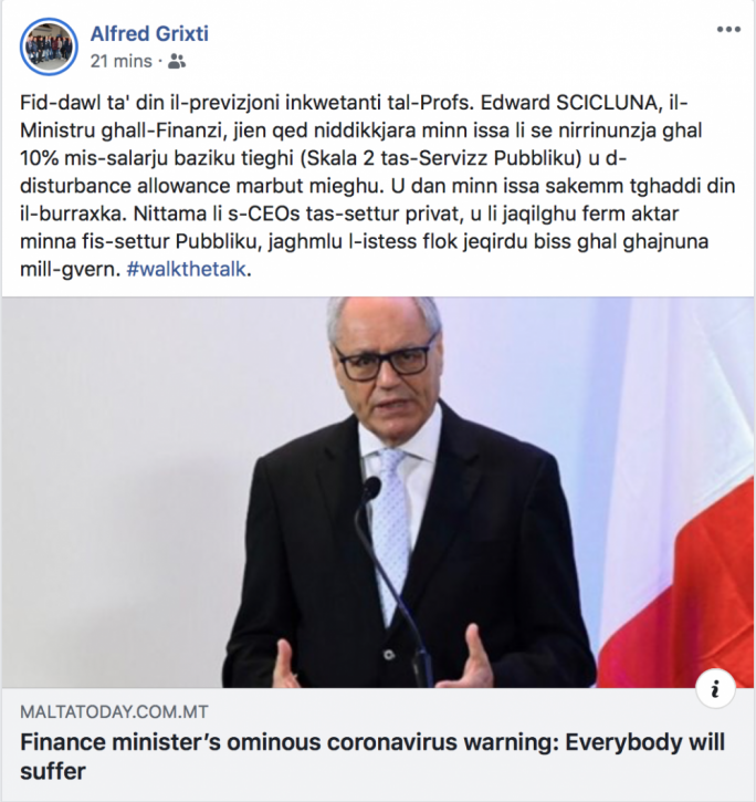 FSWS head Alfred Grixti announced his decision on Facebook
