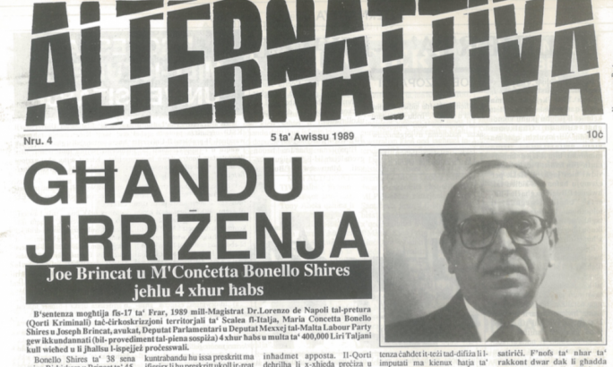 A cutting of the newspaper Alternattiva from 1989 that reported on an Italian court's decision to sentence Joe Brincat to prison over a case of contraband jewellery from two years prior