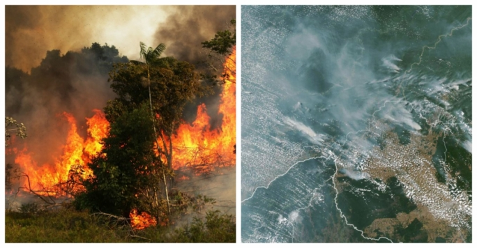 A wave of forest fires in Brazil's dry season was captured by NASA's satellite imagery