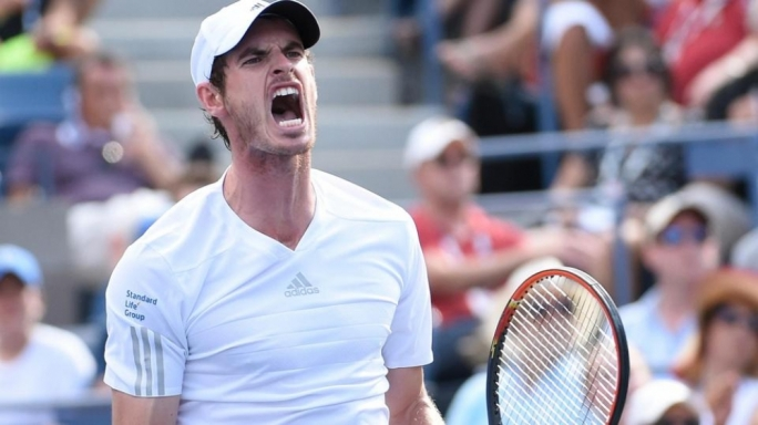 Andy Murray reacts after defeating Jo-Wilfried Tsonga