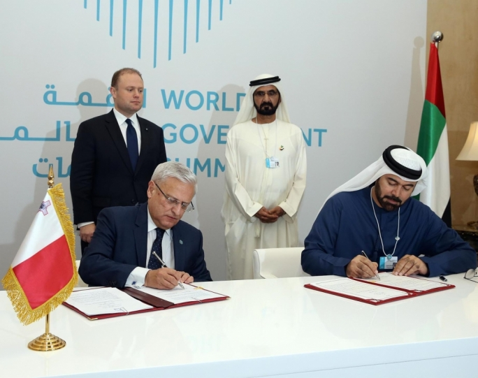 The MOU was signed by Environment Minister Leo Brincat and the UAE Minister for Cabinet Affairs, Mohammed Abdullah Al Gergawi