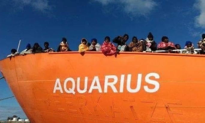 Migrants on board the Aquarius that is stranded in international waters off Malta