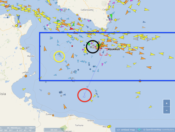 Map showing Malta's SAR region (blue box), the migrant's rescue location (red circle), Lampedusa (yellow circle) and Malta (black circle) relative to the Aquarius' path and location at 4.51pm on Sunday