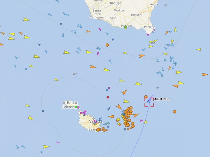 Map from Vessel Finder showing the Aquarius on the high seas as at 9.30am on Monday