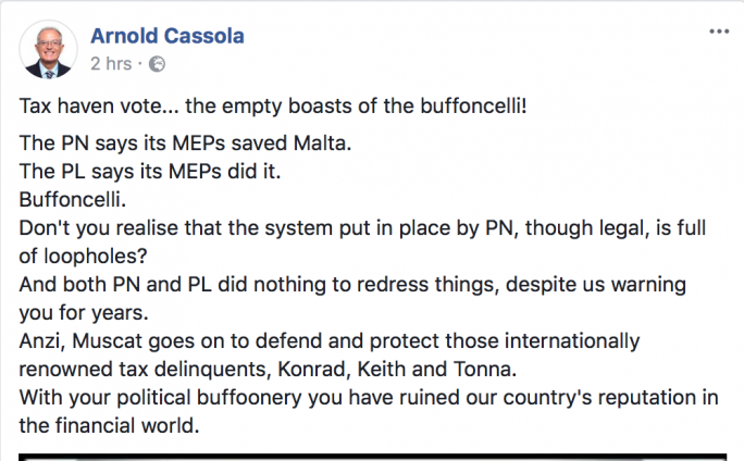 Former AD chairperson Arnold Cassola commenting on the political blame game on Facebook