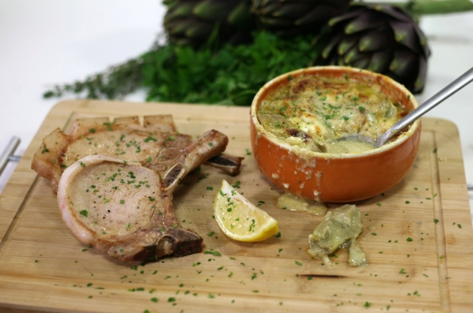 [WATCH] Pork chops with artichoke gratin