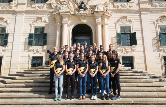 Triathletes in Malta for the Super League Triathlon visited the Office of the Prime Minister