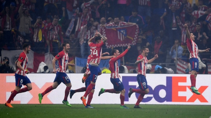 Atletico Madrid's players celebrating