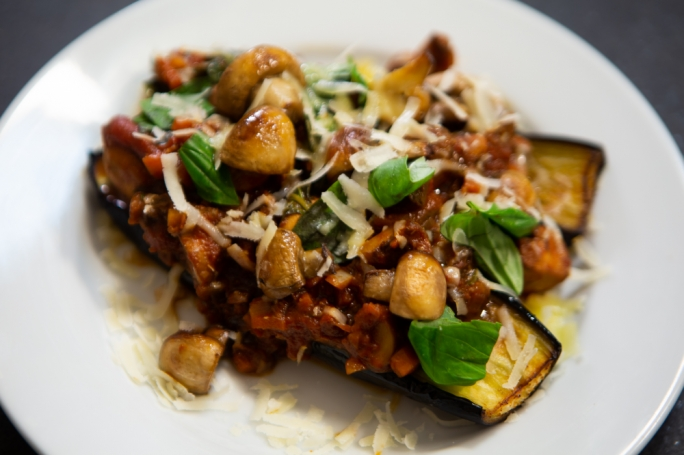 Roasted aubergines with mushroom ragu