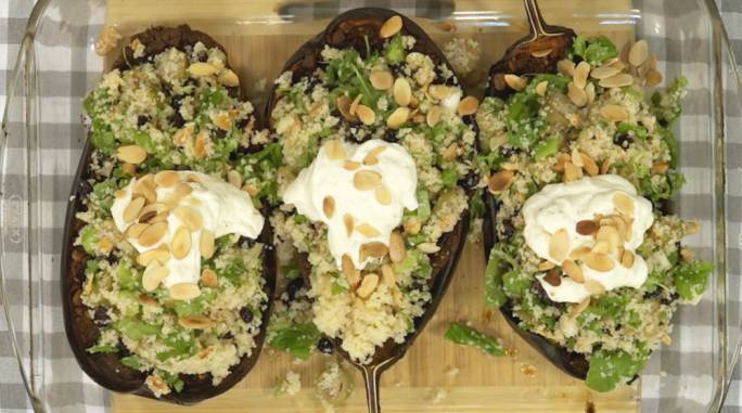 [WATCH] Chermoula aubergines with bulgar wheat salad