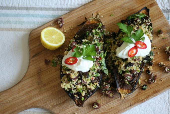 Roasted aubergines with bulgar wheat