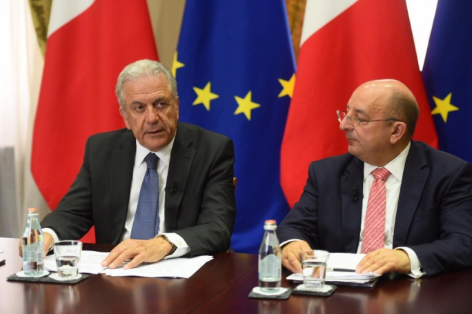Dimitris Avramopoulous (left) with Home Affairs Minister Michael Farrugia. (Photo: James Bianchi/MediaToday)