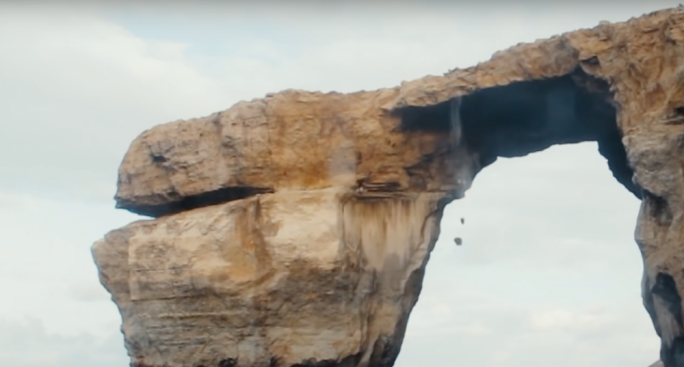 Large rocks came off the iconic Azure Window after a man ignored warnings and jumped off the landmark