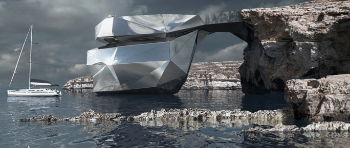 The Azure Window reimagined as a polygonal mirrored steel structure, which its designer says will blend in with its surroundings (C) Svetozar Andreev