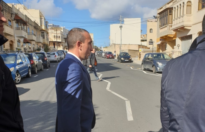 Etienne Bartolo at the scene of the crime in Birkirkara as jury panel was brought on site