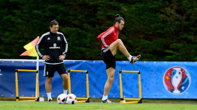 Gareth Bale taking part in a training session ahead of their UEFA EURO 2016 semi final match against Portugal