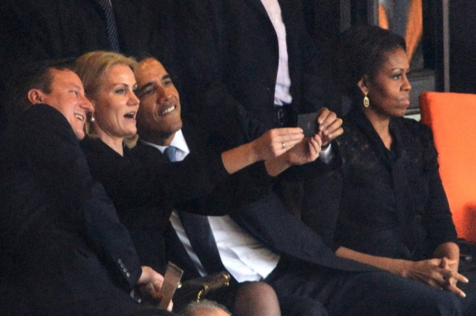 Having fun at the Mandela funeral with a selfie...