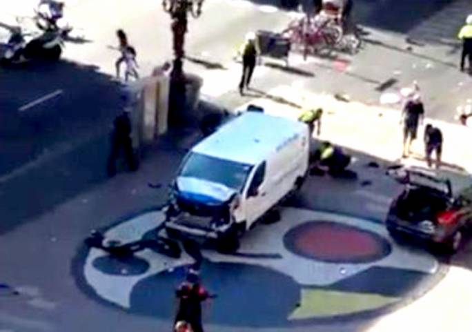 A van has rammed into crowds at Las Ramblas at considerable speed, according to eye witnesses