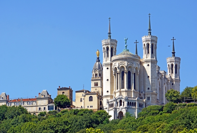 Notre Dame basilica: The Basilica of Notre-Dame dominates the Lyon skyline from its optimal location on the top of Fourvière hill