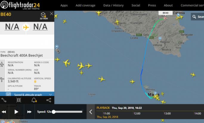 The photos show the UTC time of the Beechcraft jet leaving Malta at around 6pm and later approaching Catania at 6:22pm