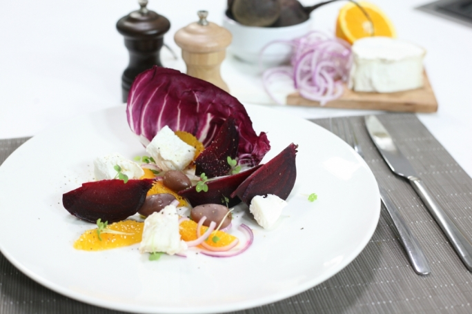 Beetroot, orange and chevre salad