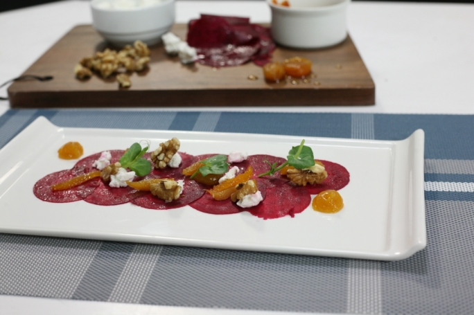 Beetroot carpaccio with chevre and soaked apricot puree