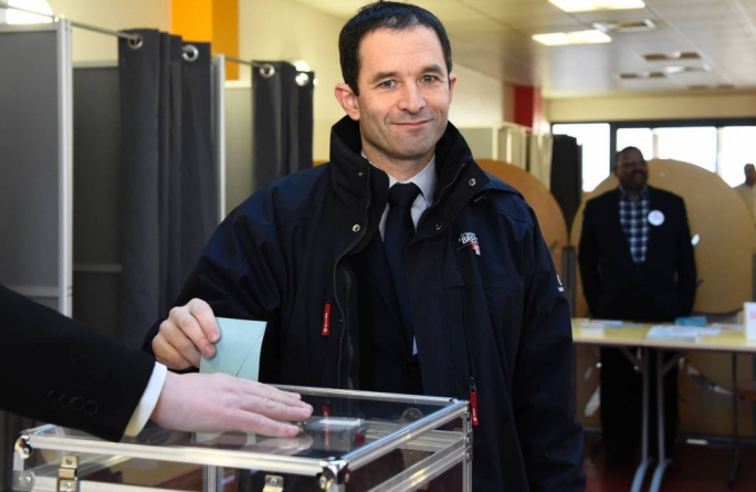 Former education minister Benoît Hamon cast his ballot in Sunday's Socialist primary in Trappes, southwest of Paris