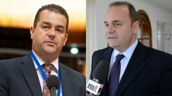 PN deputy leader Beppe Fenech Adami and economy minister Chris Cardona on Reporter