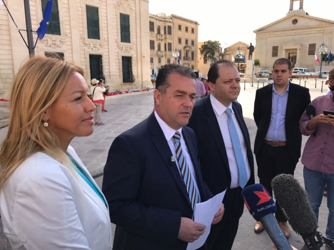 PN deputy leader for party affairs Beppe Fenech Adami addresses the press outside Castille