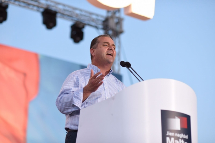 PN deputy leader Beppe Fenech Adami addresses a mass meeting. Photo: James Bianchi
