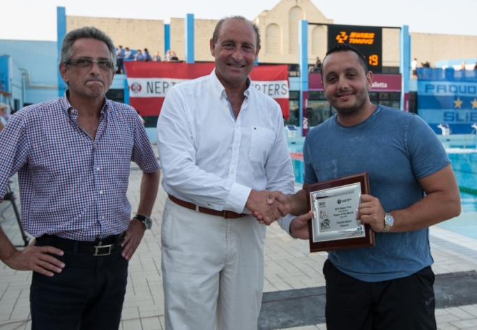 Marsaxlokk Fischer's Claudio Spiteri Debarro (R) receiving the award from Paul Gauci, Executive Head BOV Training and Education from Bank of Valletta and Joe Caruana Curran, President of the Aquatic Sports Association of Malta