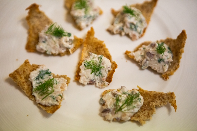 Smoked mackerel pate on crispy bread