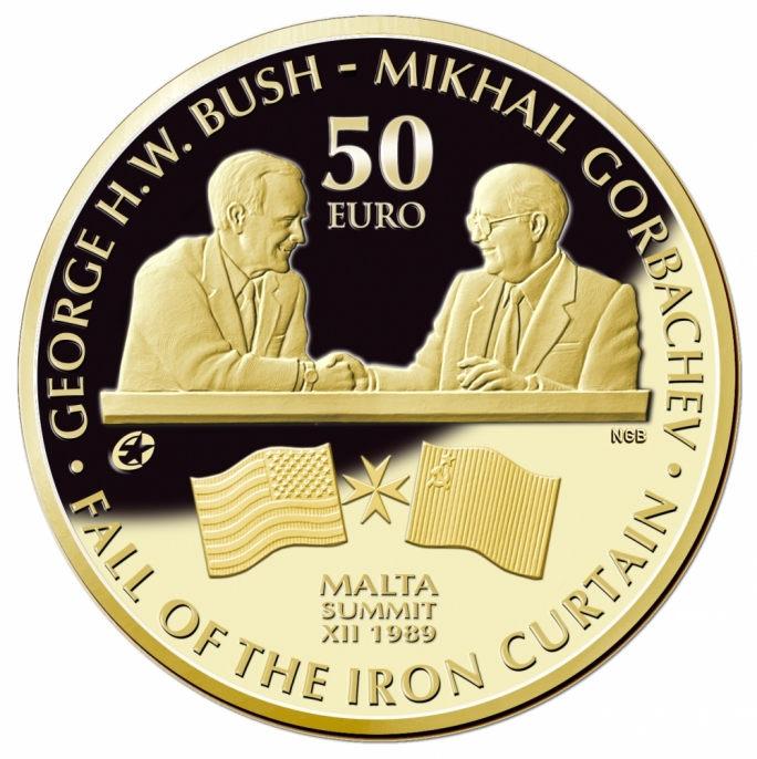 Central Bank Issues Coin Commemorating Bush Gorbachev