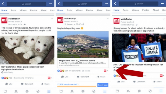 (Our articles organically reach and engage with a large audience. Screenshots taken on 26 January 2017; Source: Facebook Mobile App)
