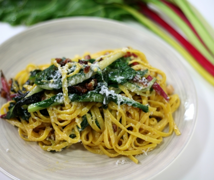 [WATCH] Carbonara with guiancale and rainbow chard