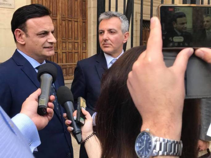 David Casa and Simon Busuttil outside court back in April 2018