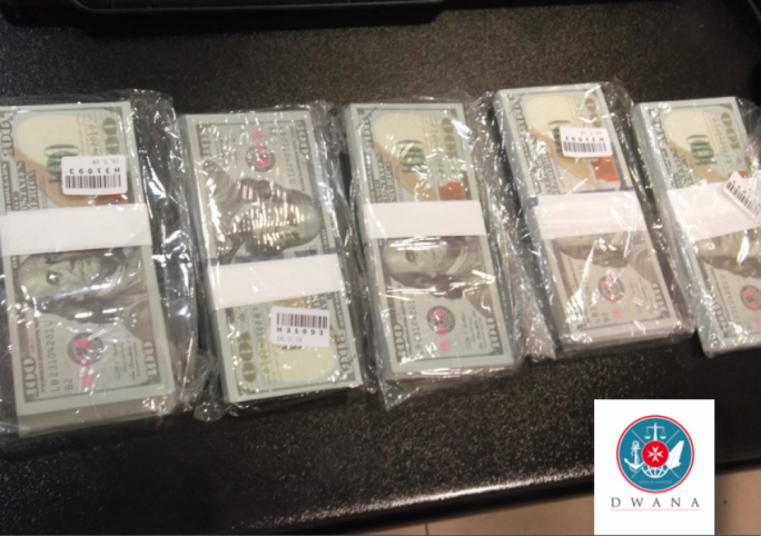 Customs seizes $50,000 in cash bundles