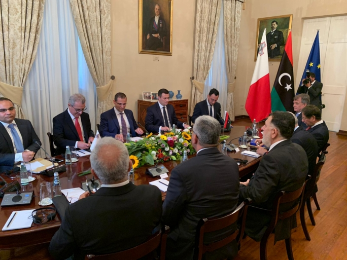 The Maltese and Libyan delegations held talks in Castille on immigration and security in the Mediterranean and the North African state