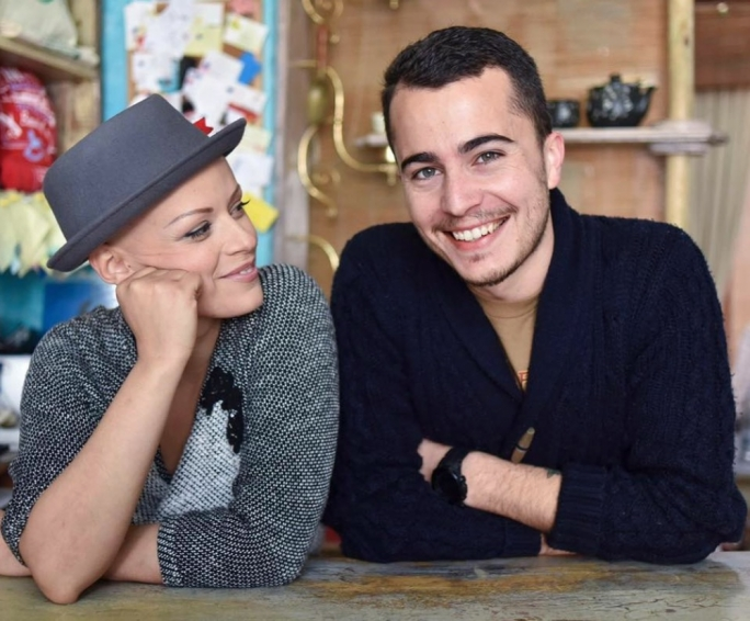 Charlene Mercieca and her boyfriend,  at her retail outlet Soap Café