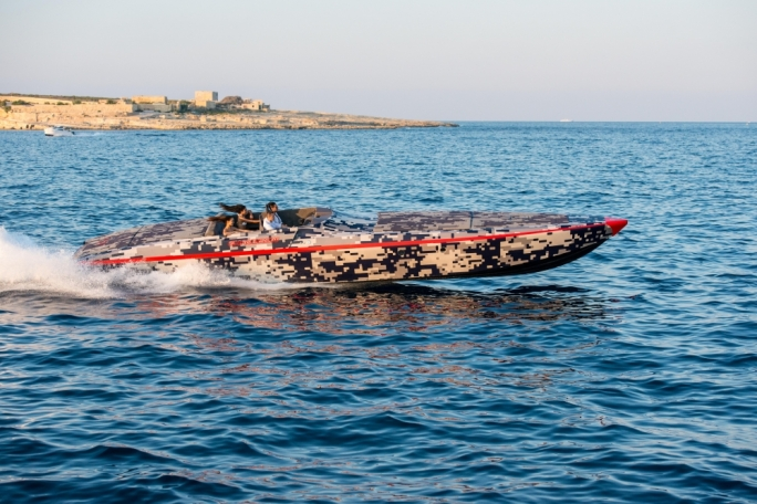 The magic, style and power of the new exclusive Chaudron G Edition  powerboat on its trails in Malta prior to its official unveiling at the 2015 Cannes Yachting Festival (Photo: Melvin Mifsud)