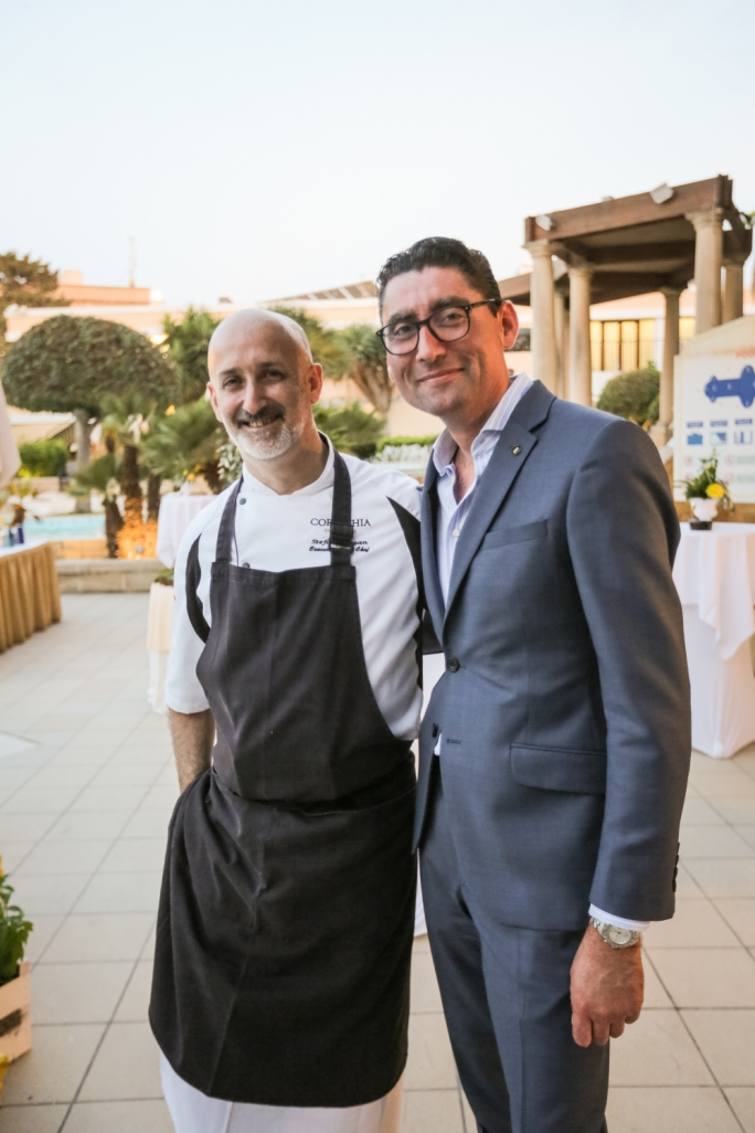 Chef Stefan Hogan and Corinthia Palace general manager Adrian Attard