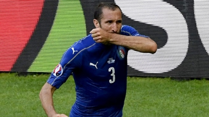 Giorgio Chiellini of Italy celebrating after scoring the opening goal during their UEFA EURO 2016 round of 16 match against Spain