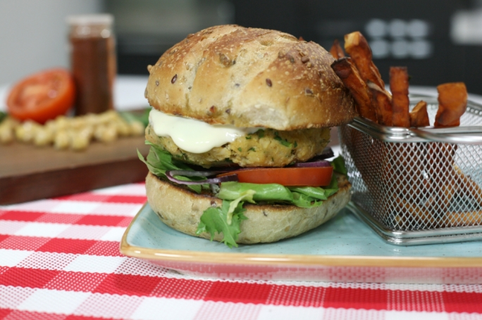 Chickpea burger with sweet potato fries