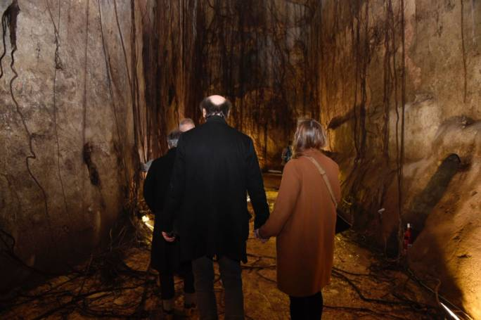 The underground cisterns below the law courts, opened today for the press. Photo: James Bianchi/MediaToday