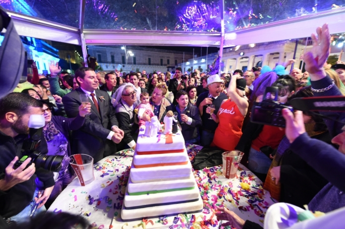 Celebrating in Valletta on the night civil unions were made law in Malta