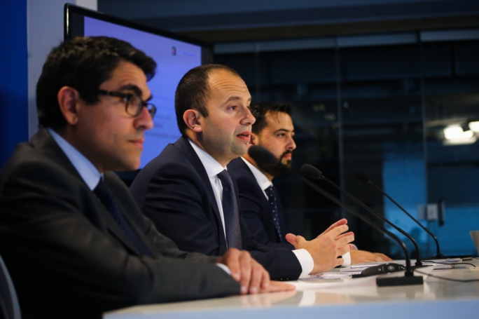 Shadow economy minister Claudio Grech flanked by MP Antoine Borg and candidate Aaron Farrugia Piccione