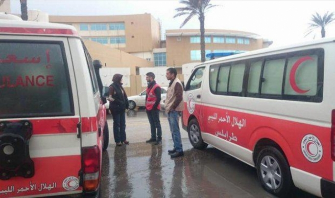Red Crescent personnel outside the Corinthia Bab Africa
