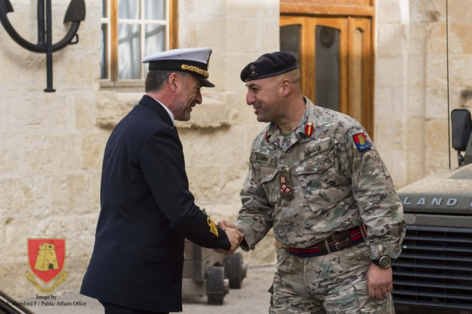 Brigadier Jeffrey Curmi (right) welcoming Read Admiral Enrico Credendino to the AFM's training centre